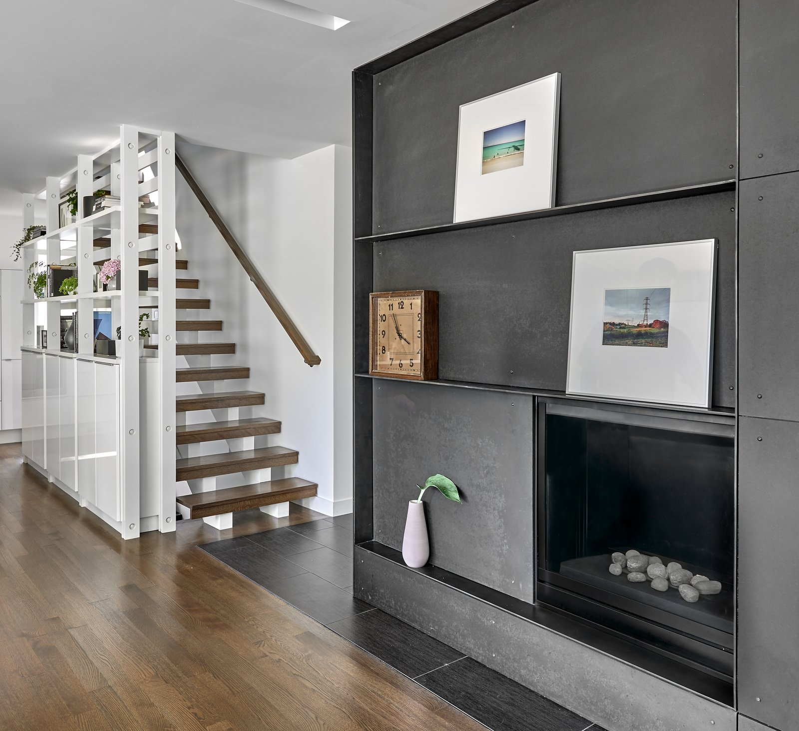 Staircase, Wood Railing, and Wood Tread Kitchen Shelving + Stair + Fireplace  Best Photos from The Gregory House