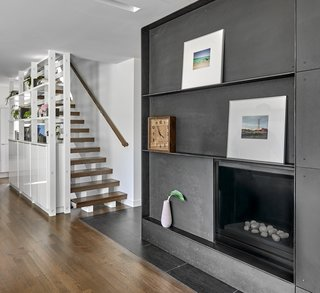 Kitchen Shelving + Stair + Fireplace