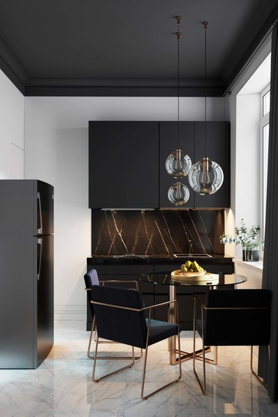 Geometrium's design expertise lies in the apartment sphere, and the Stalinskaya building is no exception—this compact yet stylish kitchen packs a serious punch.