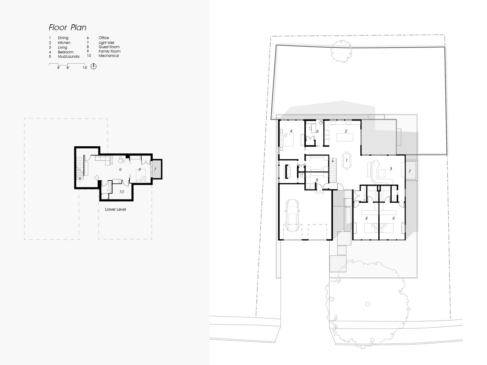 Outdoor Lower and upper floor plan drawing of the completed house.  Koser I by Neumann Monson Architects