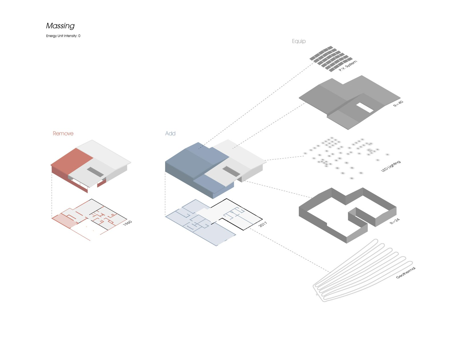 Exploded axonometric drawing illustrating the new and renovated parts of the house.  Koser I by Neumann Monson Architects