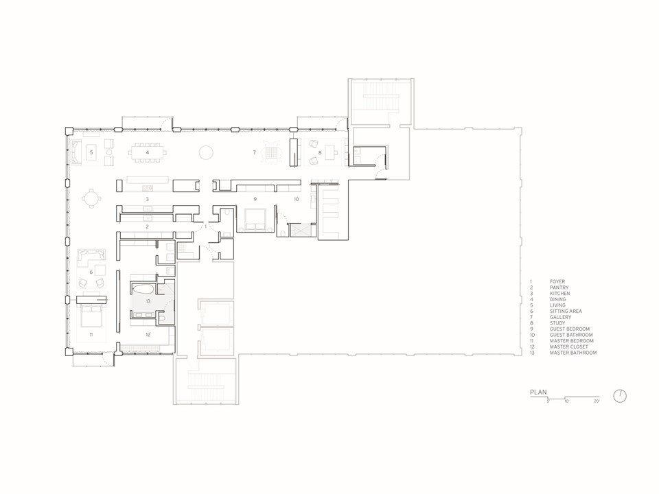 Floor plan drawing.  Whiteline Residence by Neumann Monson Architects