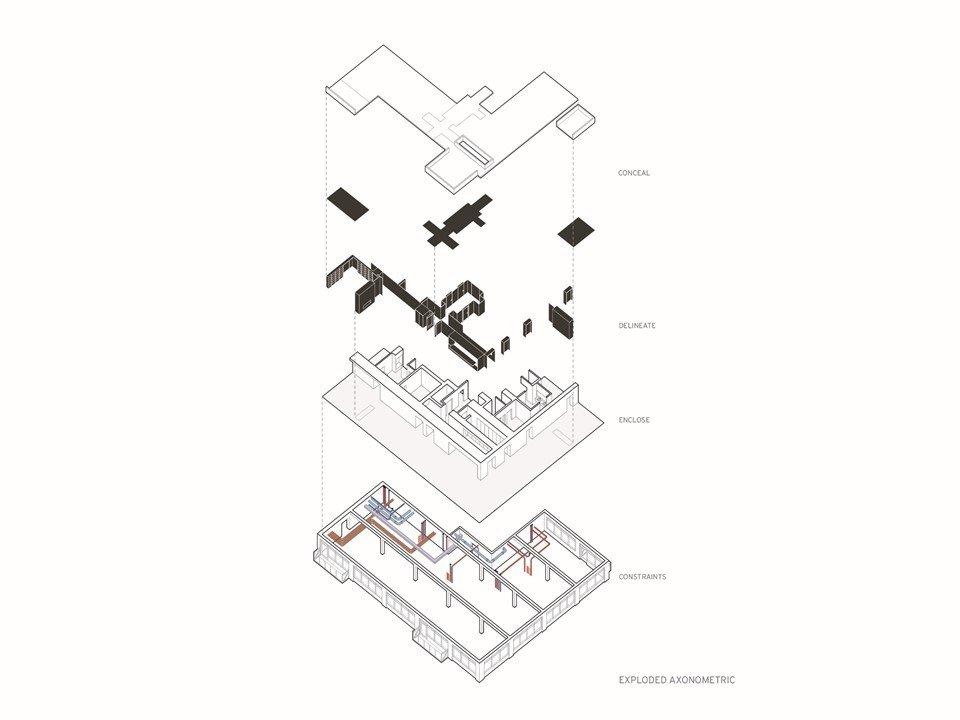 Exploded axonometric drawing.  Whiteline Residence by Neumann Monson Architects