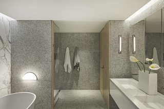 Best Modern Bathroom Marble Floors Design Photos And Ideas Dwell - Finished bathrooms