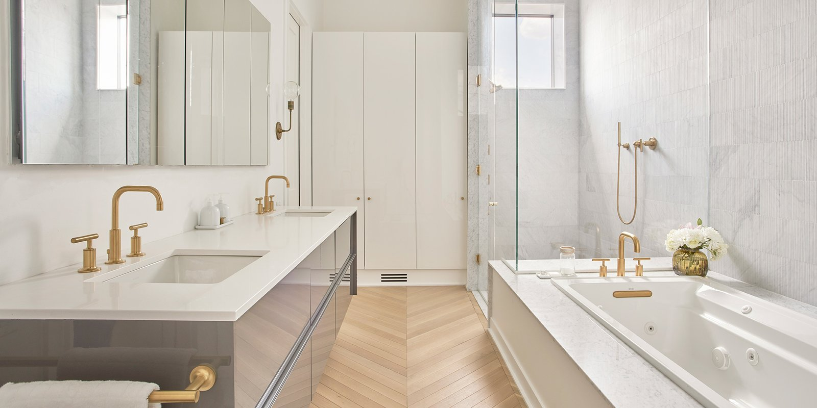Bath, Engineered Quartz, Marble, Light Hardwood, Ceramic Tile, Undermount, Soaking, Drop In, Enclosed, Full, Accent, Marble, Wall, Recessed, Ceiling, Stone Tile, and Two Piece Master Bathroom   Best Bath Two Piece Light Hardwood Recessed Wall Soaking Enclosed Photos from Courtyard House