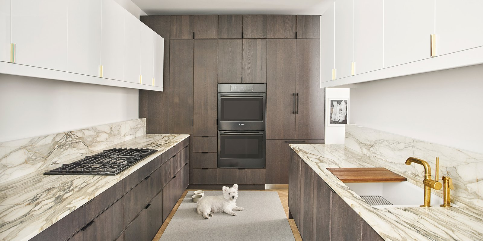 Kitchen, White, Marble, Wood, Light Hardwood, Stone Slab, Recessed, Accent, Ceiling, Refrigerator, Wall Oven, Cooktops, Range Hood, Dishwasher, and Undermount Kitchen (w/ Winston)  Best Kitchen Ceiling White Marble Dishwasher Photos from Courtyard House