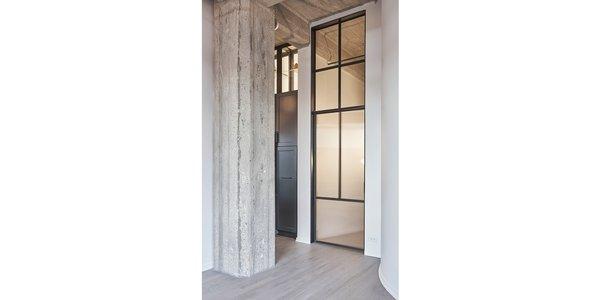 Custom steel and glass door & transom.