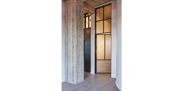 Custom steel and glass door & transom - open.