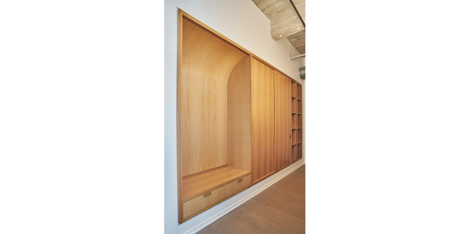 Light Hardwood, Storage, Cabinet, Closet, and Shelves Entry rift & quartered oak millwork storage, closet & bench.   Best Storage Shelves Closet Photos from West Loop Residence