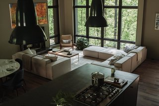 Kitchen, dining , and living room