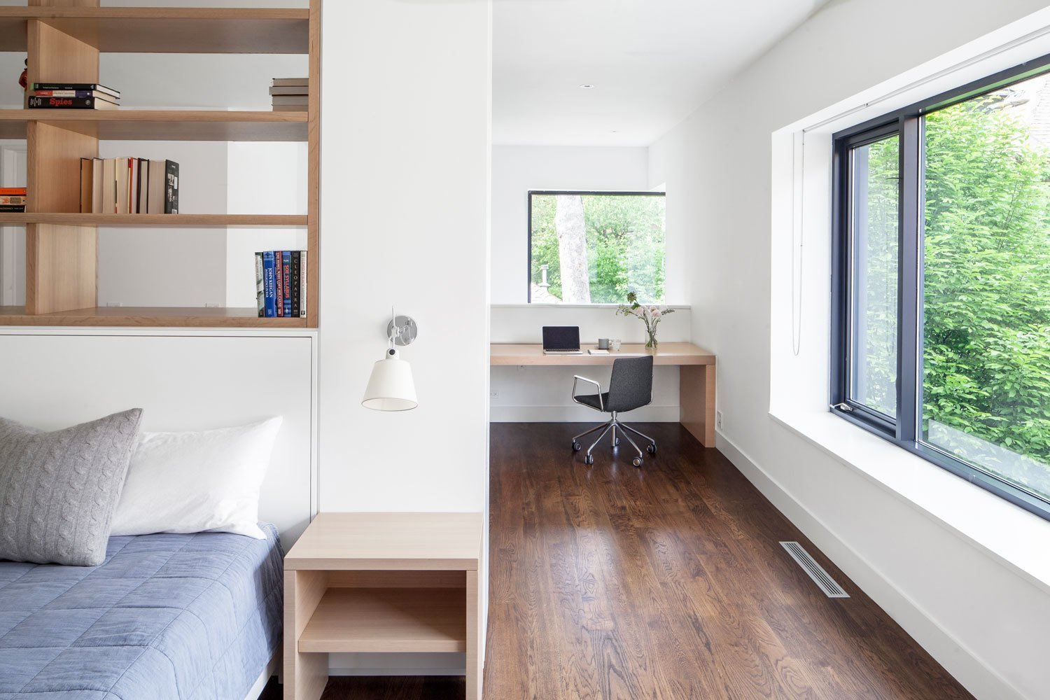Office, Study, Bookcase, Chair, Storage, Shelves, Desk, Lamps, Library, Medium Hardwood, and Dark Hardwood An interior fit out of an existing Coach House, previously renovated by Dubbeldam Architecture + Design  Office Medium Hardwood Dark Hardwood Photos from Coach House