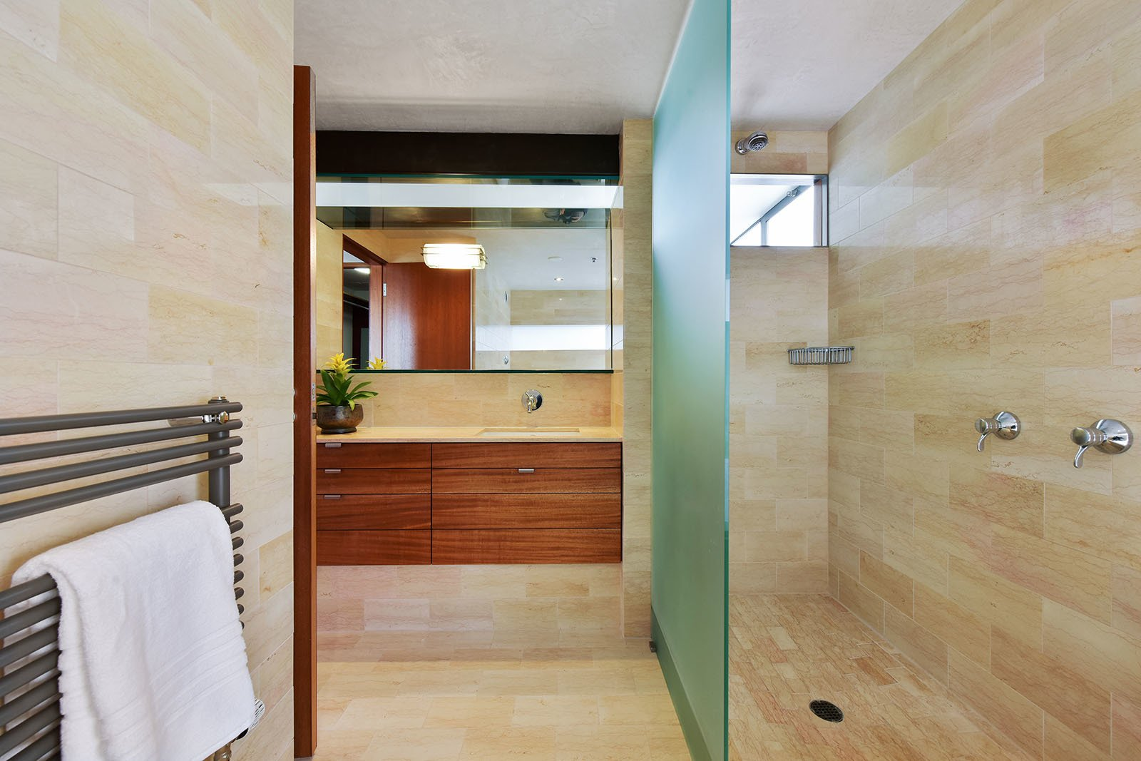 Bath, Marble, Travertine, Soaking, Open, Ceiling, Drop In, One Piece, and Marble Level 2 master bath  Best Bath Travertine Marble Soaking Photos from The Rempel Temple