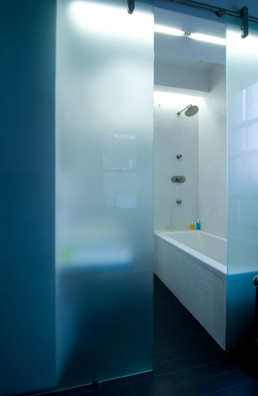 Bath Room, Drop In Tub, Open Shower, and Mosaic Tile Wall Acid-etched frosted, barn style- sliding glass panel  Park Avenue Studio