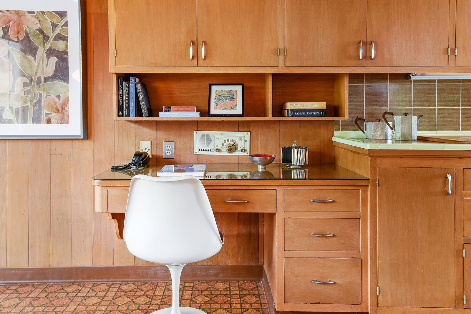 Kitchen, Tile Counter, Wood Cabinet, Vinyl Floor, Refrigerator, Cooktops, and Wall Oven Quintessential mid-century built-in desk in the kitchen  Vintage Hollywood in the Berkeley Hills
