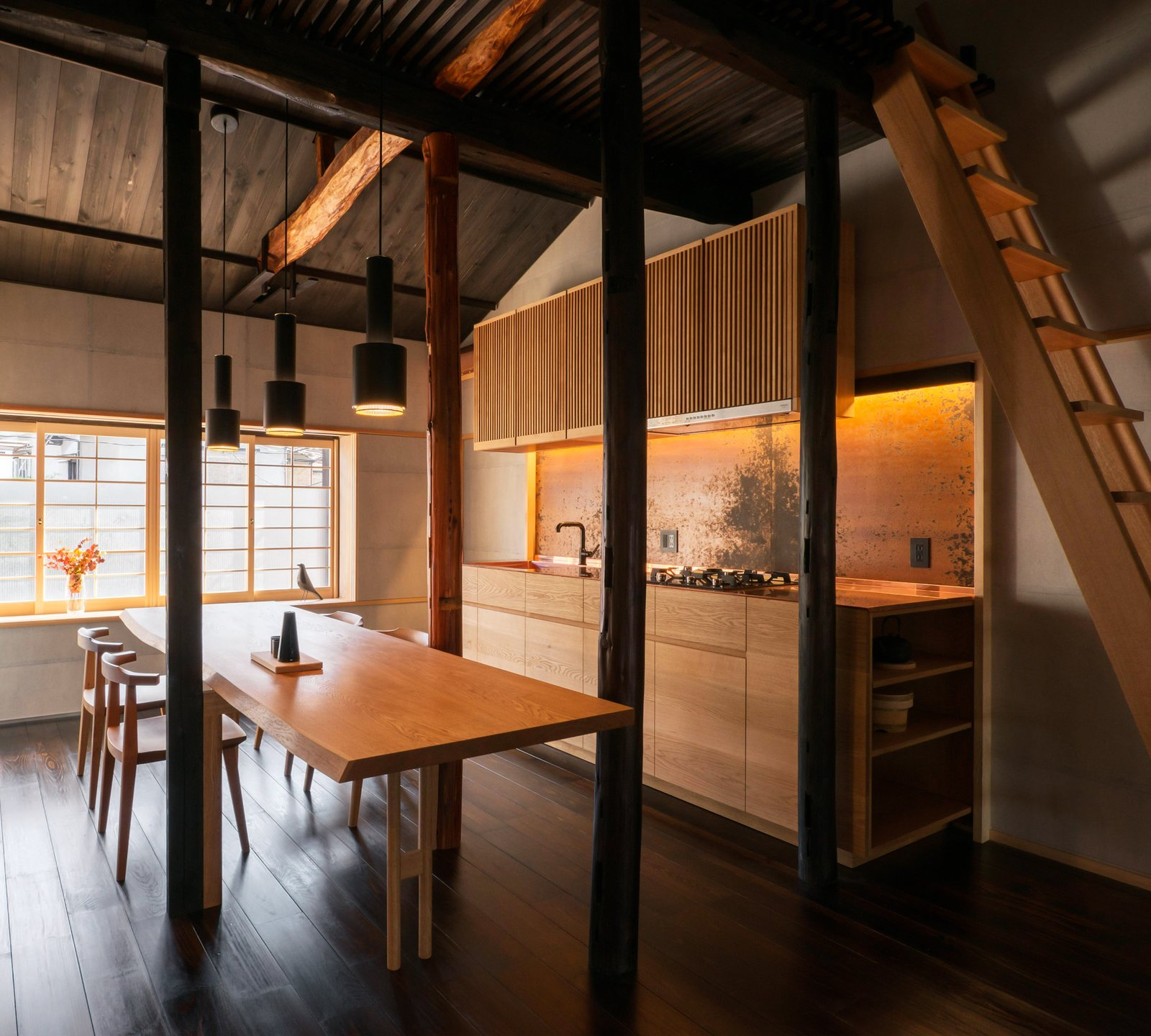 Dining Room, Painted Wood Floor, Wall Lighting, Recessed Lighting, Chair, Pendant Lighting, Storage, Bench, Shelves, and Table From the stained wallpaper, to the lacquered floorboards, to the timber joinery, every element has been hand finished using traditional techniques.  Ichijoji House by atelier Luke