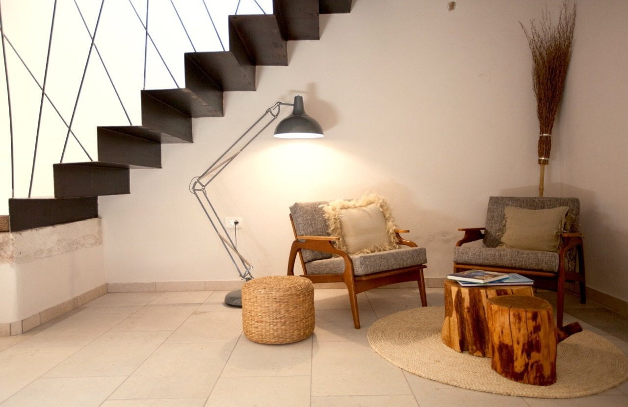 Living Room, Chair, Coffee Tables, Wall Lighting, and Floor Lighting Living place  Villa No24