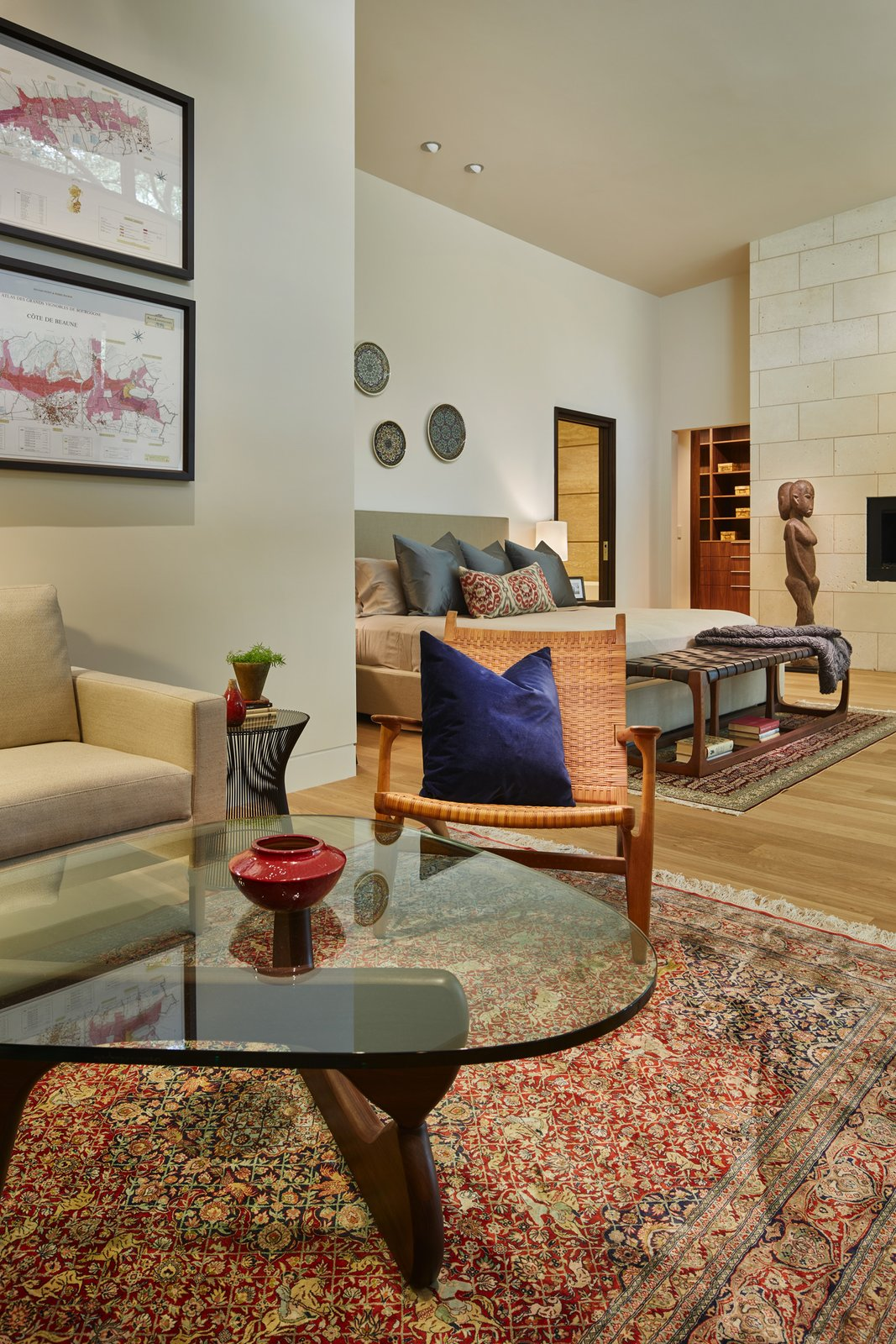 Bedroom, Light Hardwood Floor, Recessed Lighting, Chair, Bed, Ceiling Lighting, and Night Stands Master suite.  Bent Tree Residence