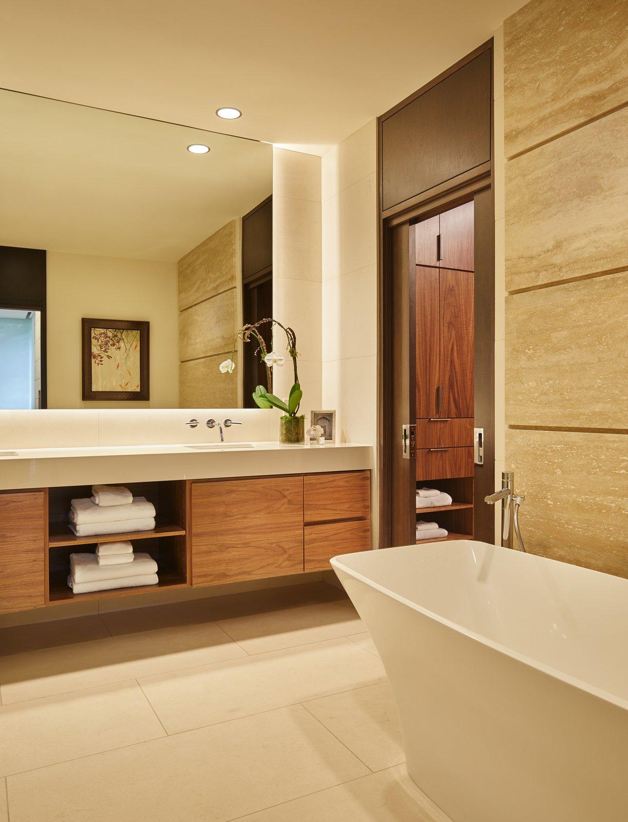 Bath Room, Undermount Sink, Freestanding Tub, Ceramic Tile Floor, Ceiling Lighting, Marble Counter, and Recessed Lighting Master bathroom.  Bent Tree Residence