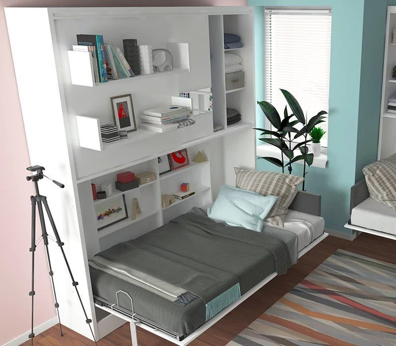 Bedroom, Bed, Storage, Shelves, and Dark Hardwood Floor Twin Murphy Wall Bed  Photo 9 of 11 in Sofa Bed Versus Wall Bed: What's Best For Your Small Space?