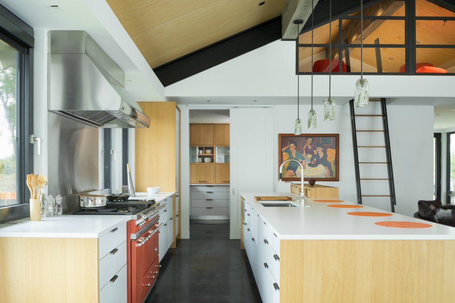 Kitchen, Wood, Concrete, Engineered Quartz, Stone Tile, Ceiling, Pendant, Refrigerator, Range, Range Hood, and Undermount Lacanche Range and Henrybuilt cabinetry in Kitchen and Pantry  Best Kitchen Refrigerator Range Hood Undermount Pendant Concrete Photos from The Landing