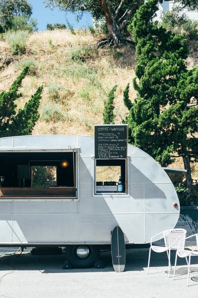 Exterior, Shed Building Type, Camper Building Type, and Metal Siding Material On property, Chef Ludo Lefebvre of L.A.'s outstanding Petit Trois serves up Coffee & Waffles in the hotel's charming 1947 Airstream trailer. The spot offers locally-roasted coffee and specialty waffles—try the ham and gruyère waffle, or the coconut and dried shrimp.  Best Photos from Do Malibu in Style With the Native Hotel, a Rejuvenated Hollywood Favorite