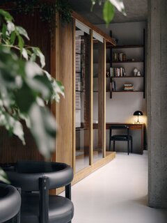 """""""Our office is at the edge of our bedroom,"""" says the architect. """"It feels like it is part of our room, but with enough privacy and distance."""""""