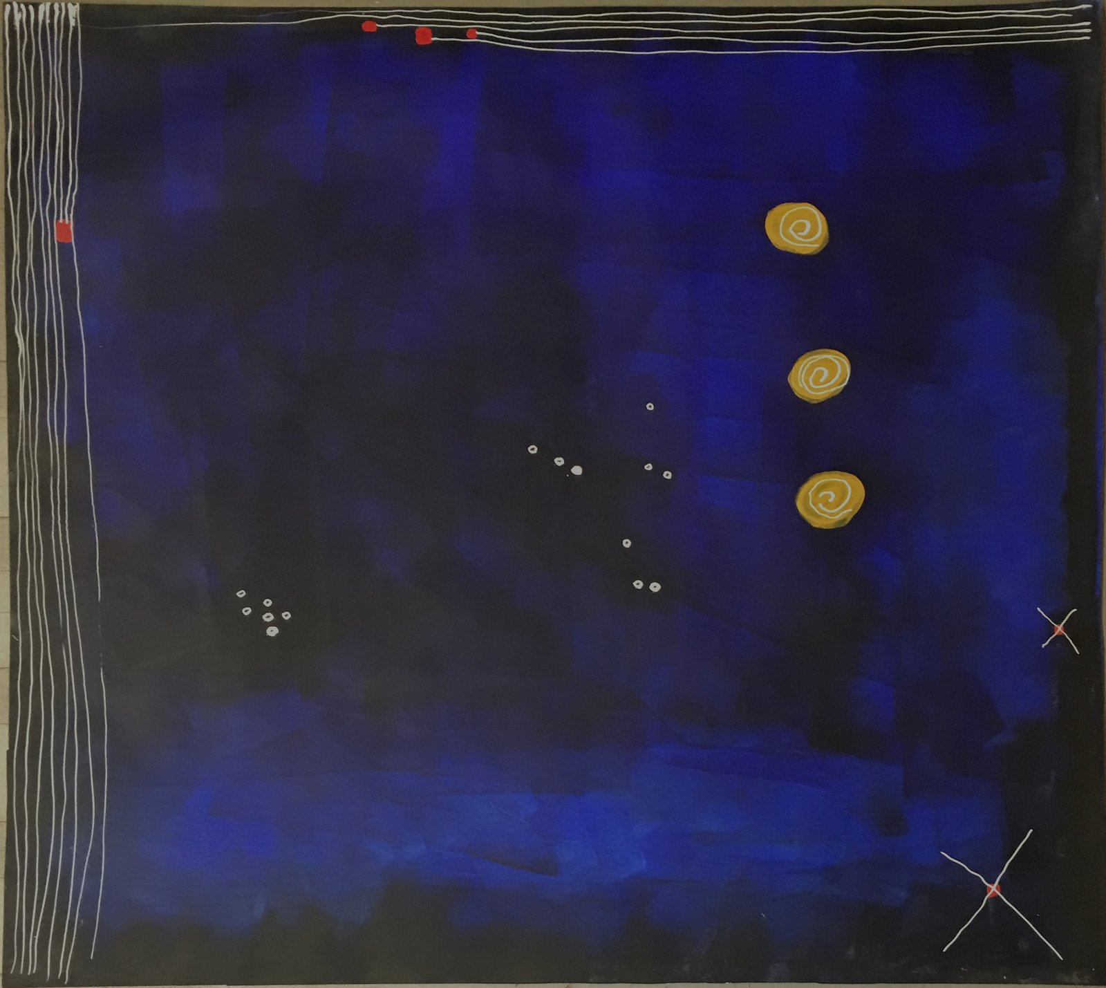 """MIDNIGHT SERENADE #2, 2017 acrylic, ink on paper 35""""x40"""""""" framed 2350.  Robert Solomon's Favorites from Works on Paper"""