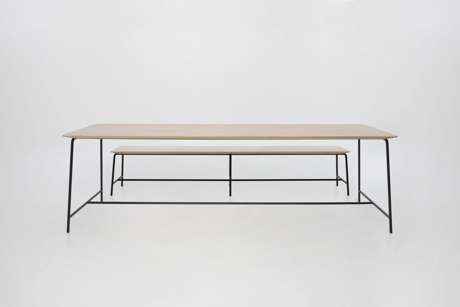 Dining Room, Bench, and Table Dinning Table T01 and bench B01  by Foraine  Saint-Laurent Apartment by Atelier Barda