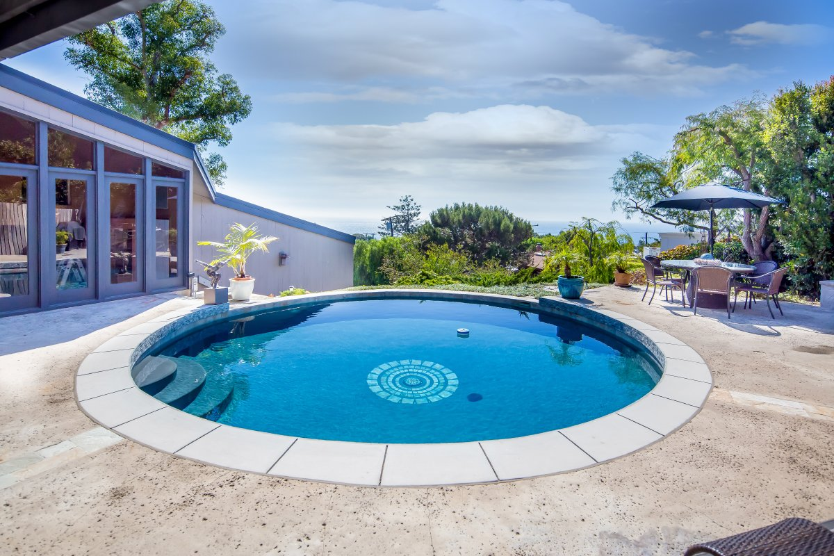 Outdoor, Front Yard, Trees, Raised Planters, Hardscapes, Gardens, Plunge Pools, Tubs, Shower, Large Patio, Porch, Deck, Concrete Patio, Porch, Deck, Retaining Fences, Wall, and Landscape Lighting Spectacular J. Lamont Langworthy Pool Home  J. Lamont Langworthy Design
