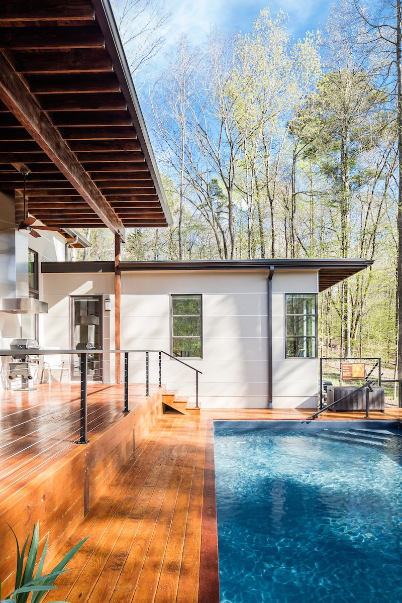 Outdoor, Back Yard, Hardscapes, Large, Swimming, Small, Metal, Wire, Hanging, Lap, and Landscape The Master Suite on the end of the house has corner windows to enjoy the view.  Outdoor Metal Swimming Hanging Photos from Professor's House
