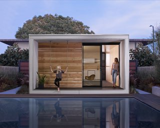 Minarc's Plus Hus is a tiny energy-efficient prefab marketed towards homeowners seeking to add an accessory dwelling unit to their property. The 320-square-foot structure is prefabricated in downtown Los Angeles, and it can be shipped flatpack to anywhere in the U.S. with prices starting at $37,000.