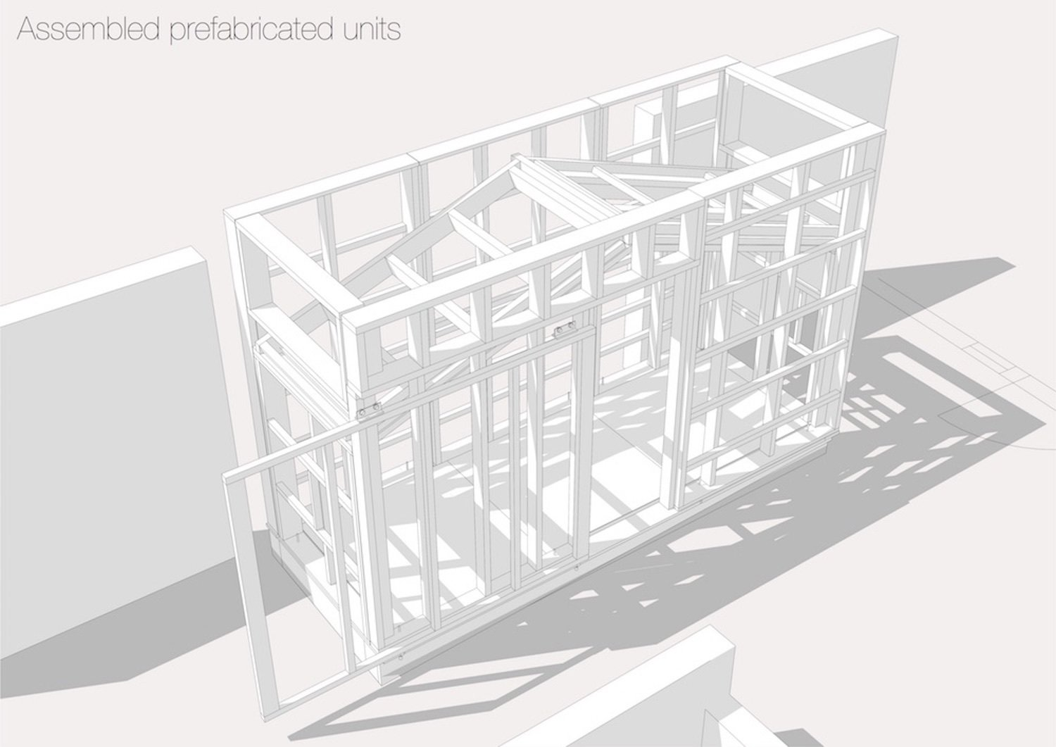 """SketchUp rendering of the assembled prefab unit  Photo 6 of 12 in A Quirky Micro-Office Hides Behind a """"Hairy"""" Facade"""