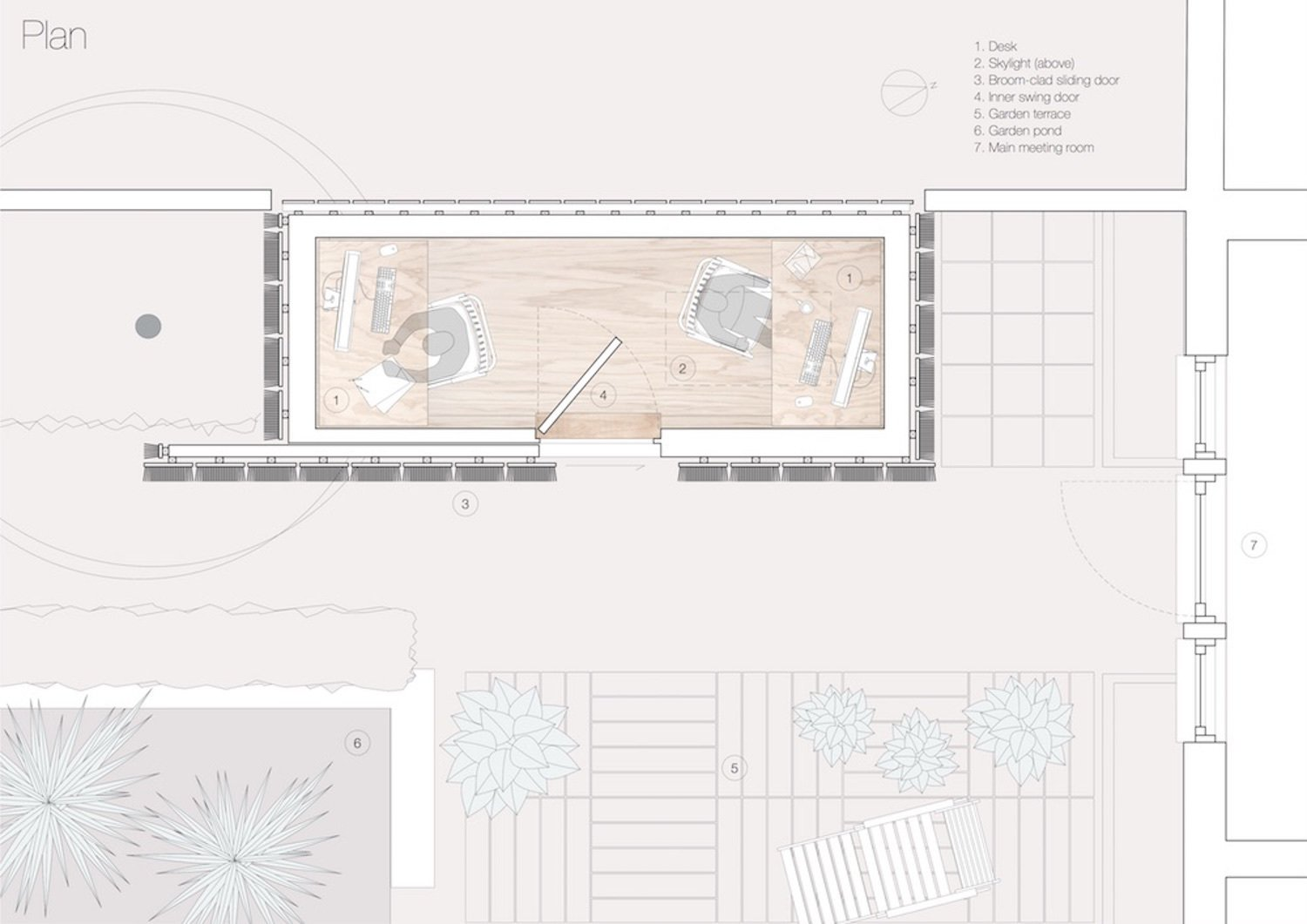"""Here is the layout from above.  Photo 12 of 12 in A Quirky Micro-Office Hides Behind a """"Hairy"""" Facade"""