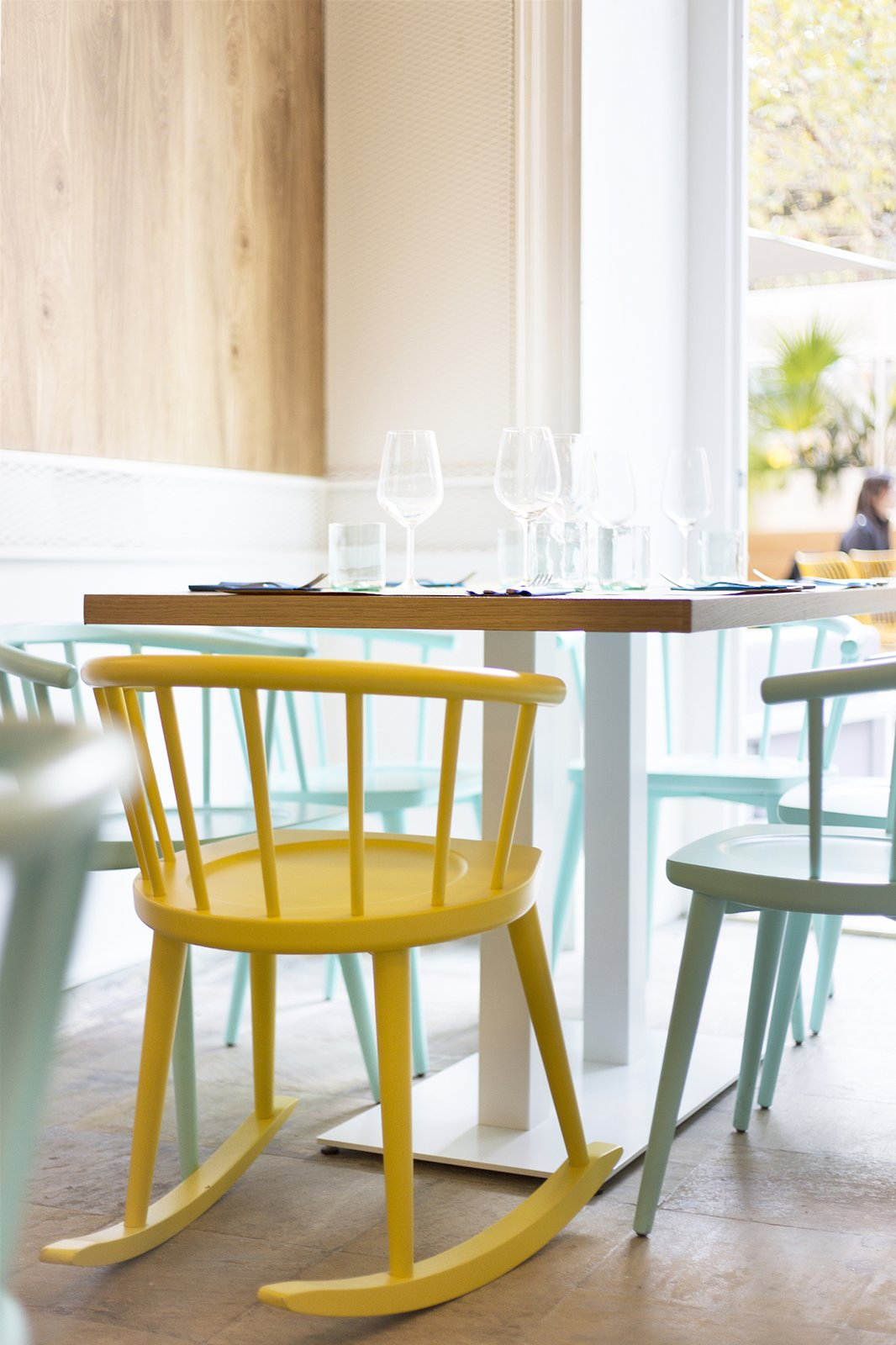 Dining Room, Chair, and Table A mix of chair types adds playfulness.  Photo 8 of 10 in A Gloomy Basement is Reborn Into a Vibrant Italian Bistro