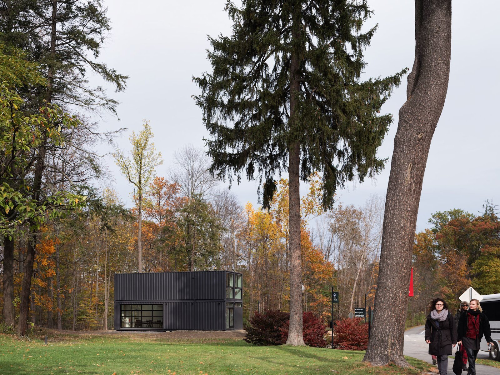 Exterior, Flat RoofLine, Shipping Container Building Type, Metal Siding Material, Metal Roof Material, and Prefab Building Type The Media Lab is located in the middle of Bard College campus.   Photo 8 of 12 in A Shipping Container Prefab Lab Is Built in Only 4 Hours