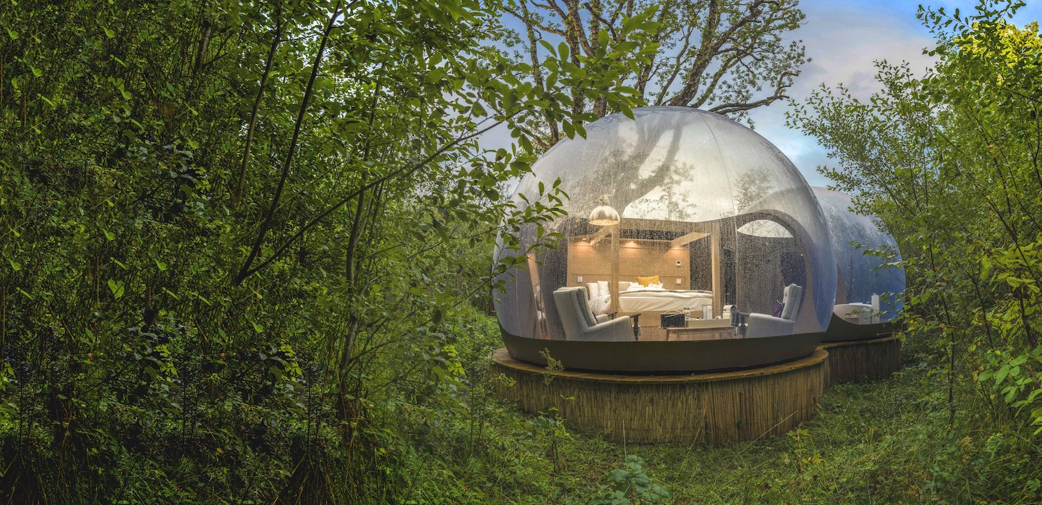 Bedroom, Bed, Chair, and Floor Lighting The Bubble Domes are a popular romantic getaway choice.  Photo 6 of 10 in Sleep Beneath the Stars in These Enchanting Bubble Domes in Ireland