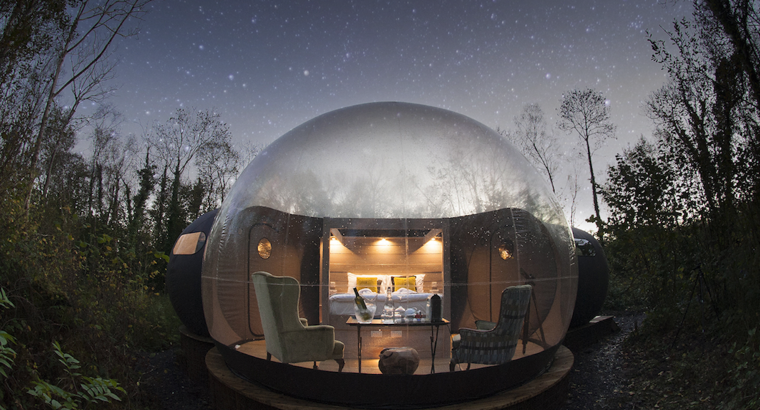 Exterior and Dome RoofLine While transparent domes have sprung up in glamping destinations worldwide, Finn Lough sets itself apart from the pack with extra touches of luxury.  Enchanting Bubble Domes in the Irish Woods
