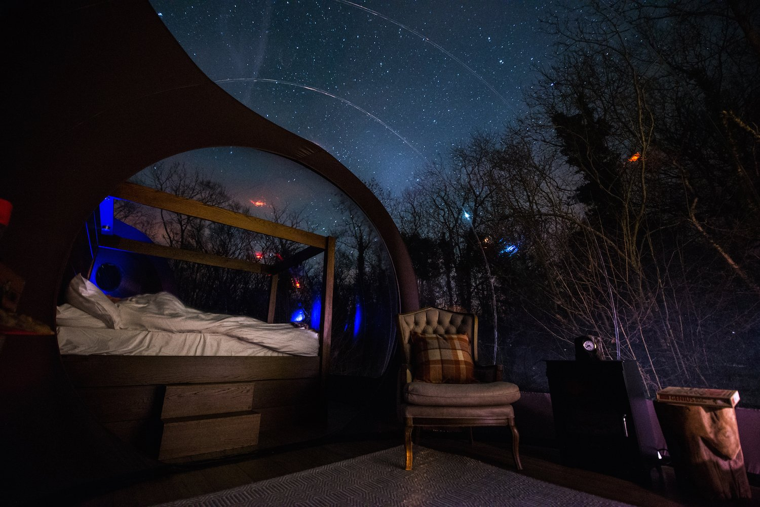 Bedroom, Bed, and Chair Sky views are best enjoyed January to March when visibility of the Milky Way is at its best.  Enchanting Bubble Domes in the Irish Woods