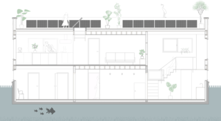 Tatami House section drawing.