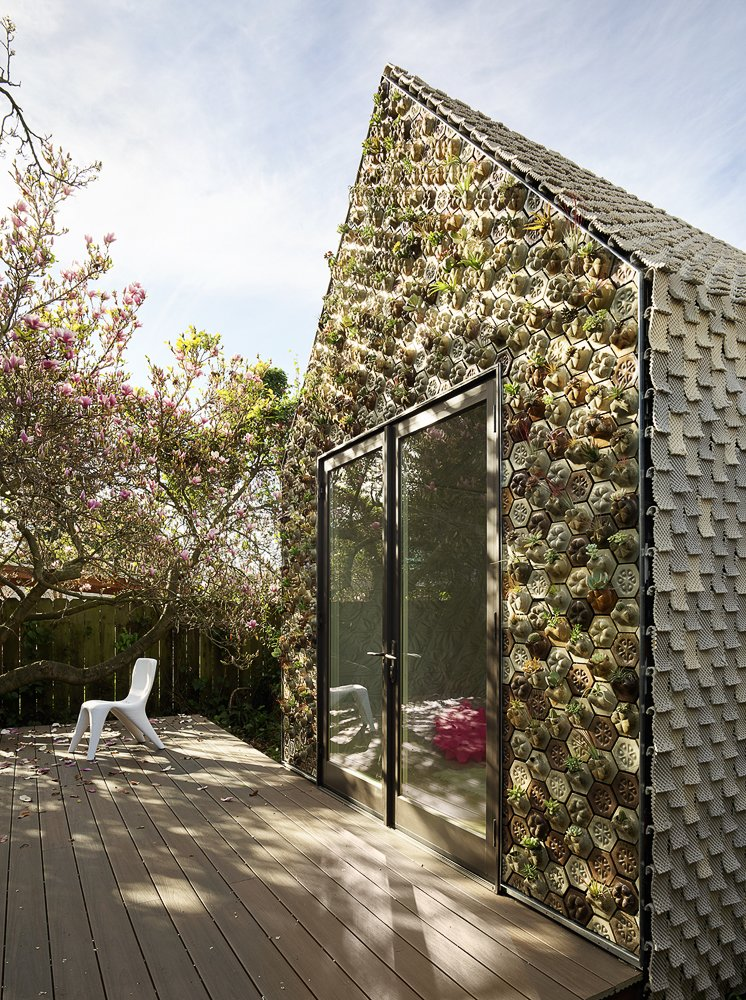 Exterior, Cabin, Gable, Tile, and Tiny Home Envisioned as a livable or rentable ADU, the one-room gabled structure is weathertight, structurally sound, and designed for longevity.   Best Exterior Tile Cabin Photos from This 3D-Printed Tiny Cabin Offers a Creative Response to the Bay Area's Housing Crisis