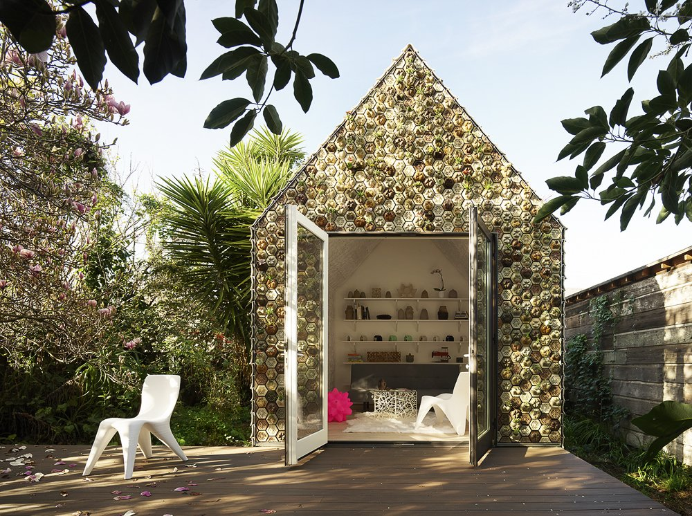 Exterior, Cabin, Tile, Gable, and Tiny Home The cabin measures roughly 120 square feet with a rectangular plan.  Best Exterior Tile Cabin Photos from This 3D-Printed Tiny Cabin Offers a Creative Response to the Bay Area's Housing Crisis