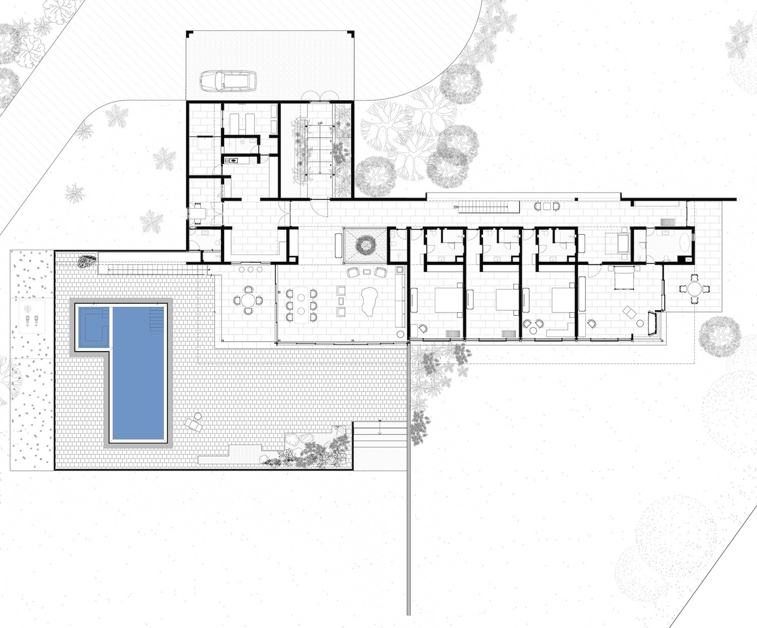First floor plan for the Soaring Rock.  Photo 14 of 14 in A Modern Home in India Evokes Emotion With a Giant 4-Ton Rock