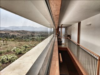 Large windows let in natural light and views from all directions.