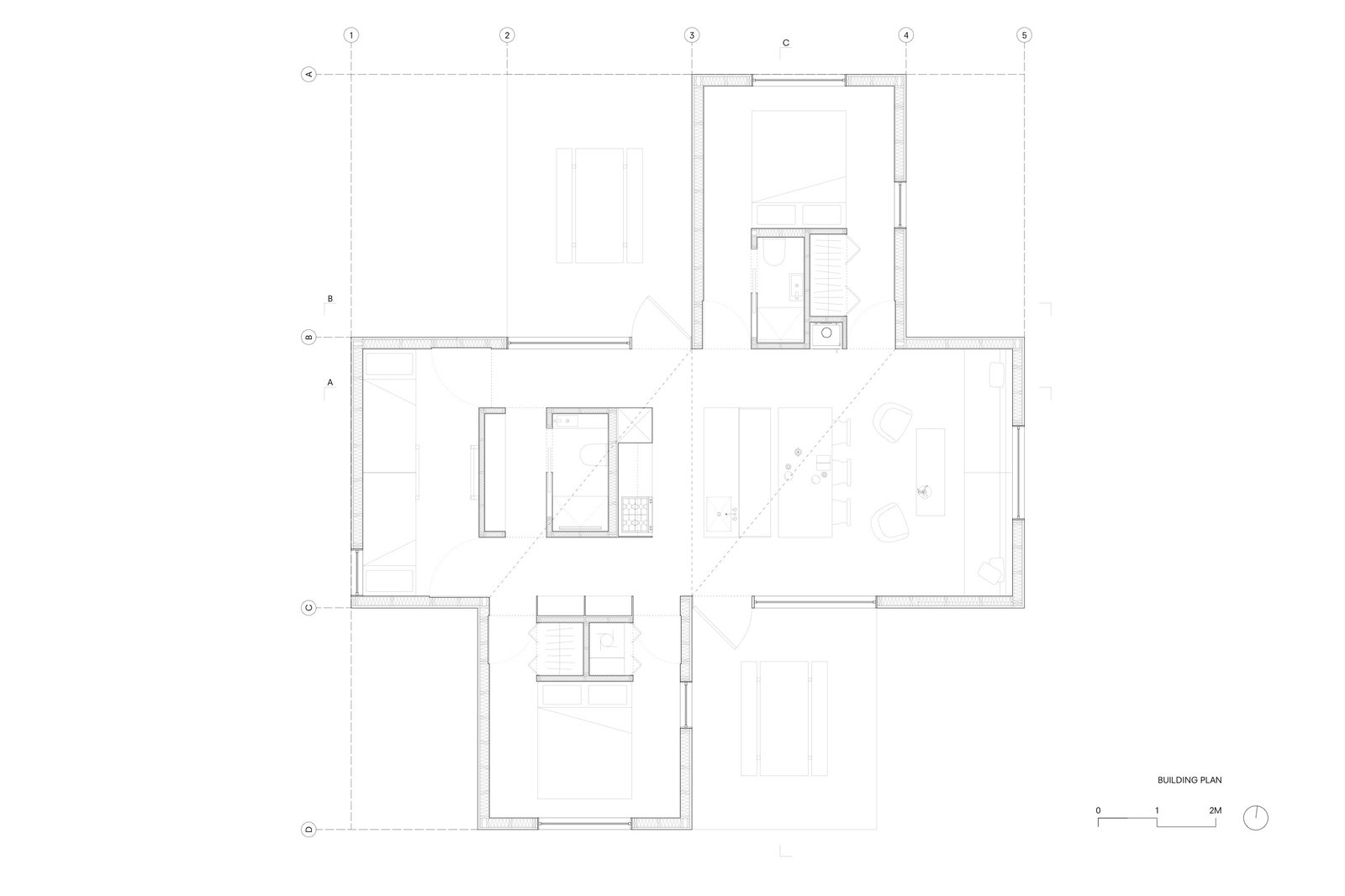 Mylla Hytte main house floor plan  Photo 13 of 14 in A Pinwheel-Shaped Cabin in Norway Is a Fresh Take on the Traditional Hytte