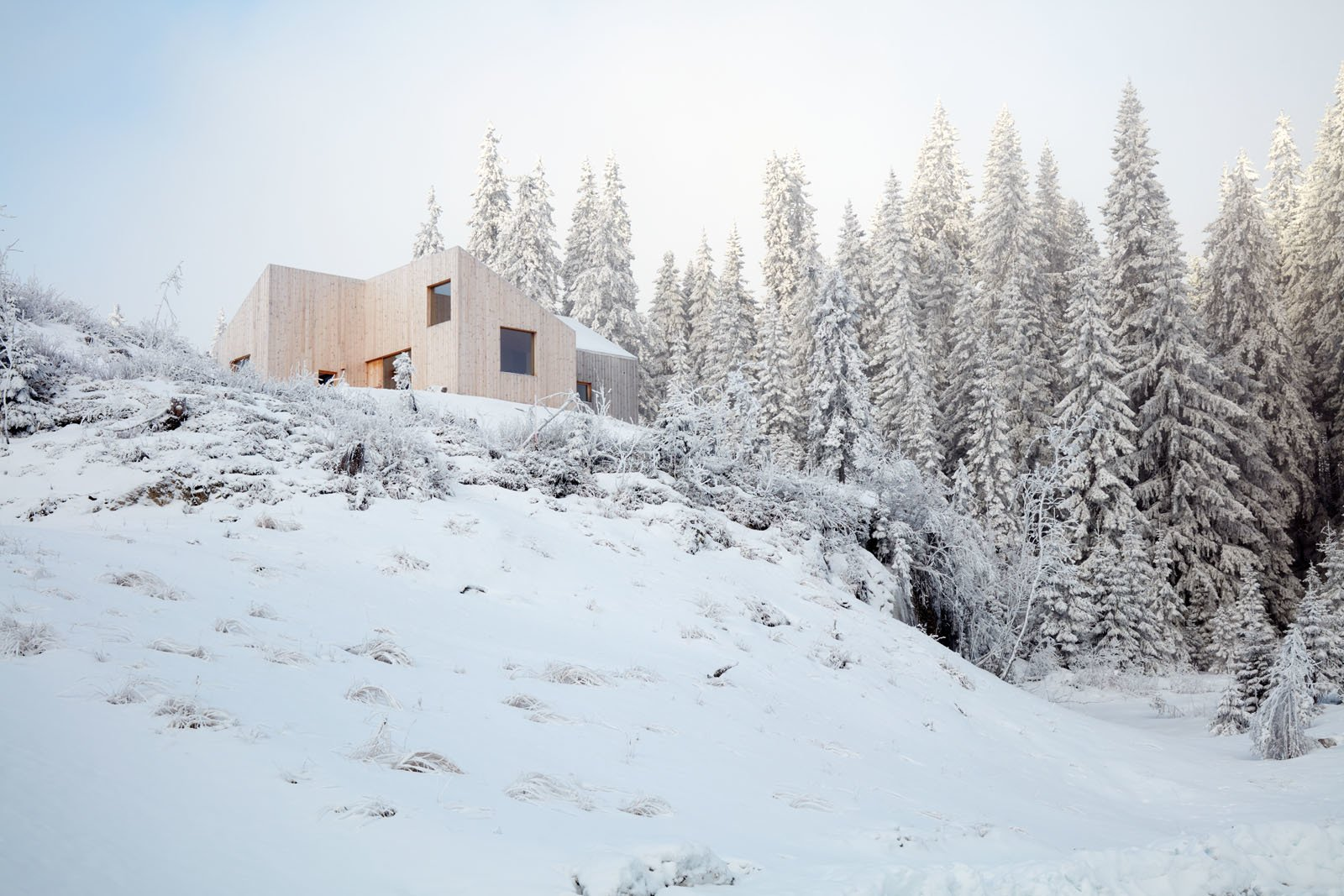 Exterior, Gable RoofLine, House Building Type, Wood Siding Material, Shed RoofLine, and Cabin Building Type During the winter, the Youngs go on long ski tours and warm up in the sauna.  Photos from A Pinwheel-Shaped Cabin in Norway Is a Fresh Take on the Traditional Hytte