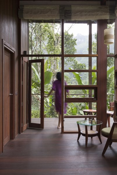 Floor-to-ceiling wood-framed glazing frames views of the outdoors.