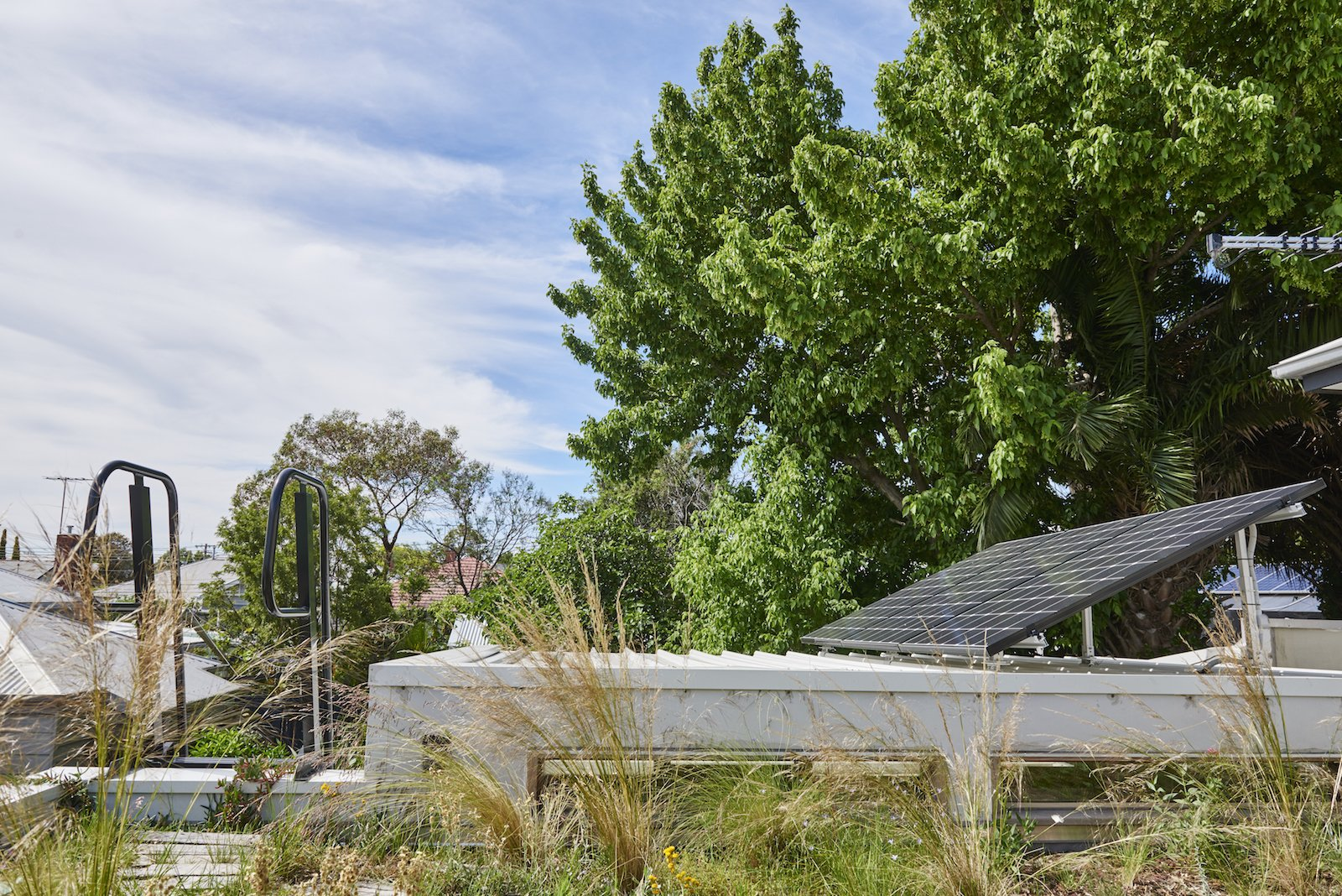 Outdoor, Grass, and Rooftop The native green roof is irrigated using the Rachio smart sprinkler controller, which is set to an automated water schedule.    Best Photos from An Old Worker's Cottage Is Reborn Into an Eco-Friendly Home and Learning Center