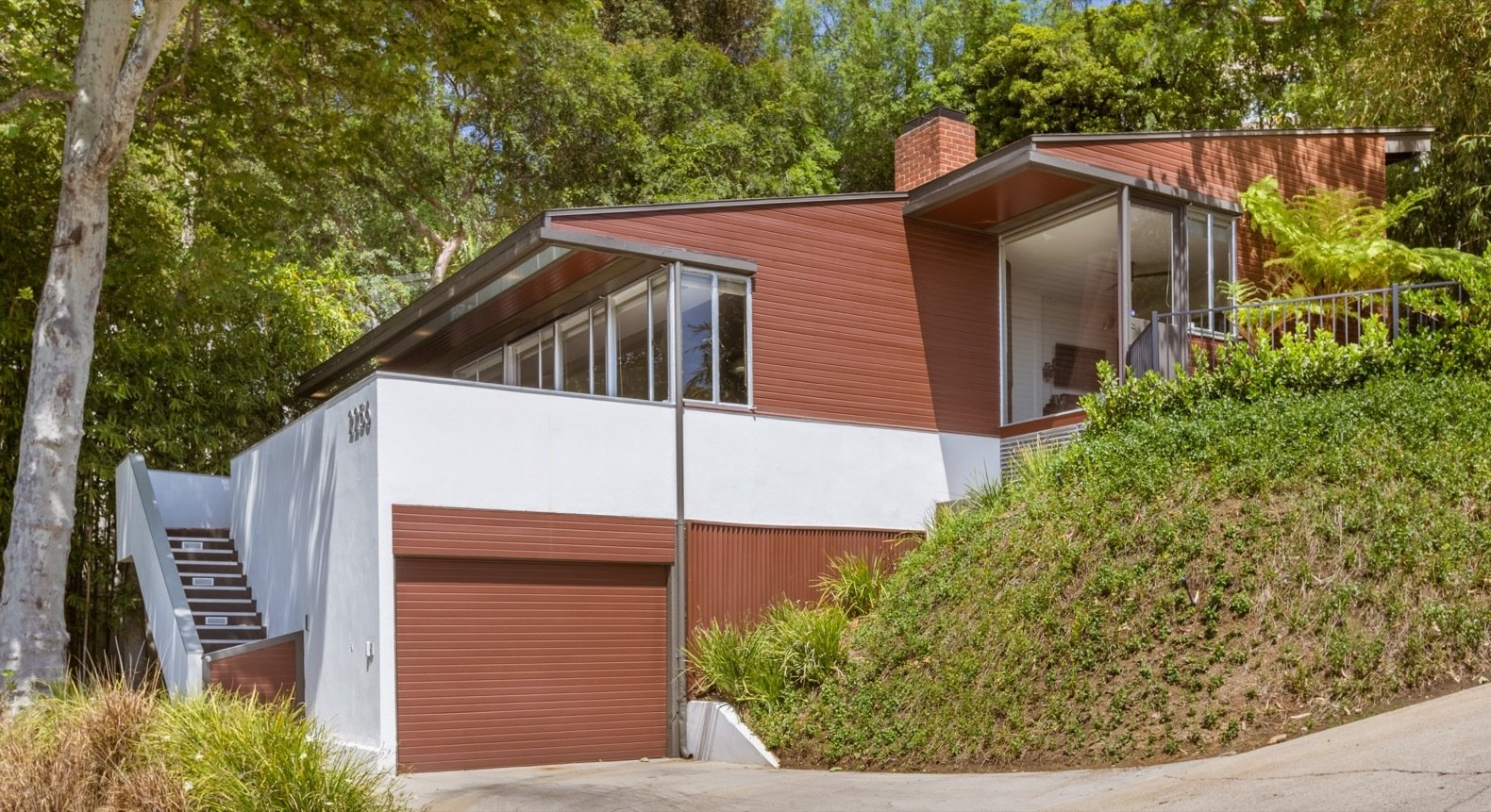 Exterior, Mid-Century Building Type, House Building Type, and Wood Siding Material Architecture For Sale has listed the property for $1.8M.  Photo 1 of 15 in Calling All Richard Neutra Fans—His Bonnet House in L.A. Hits the Market at $1.8M