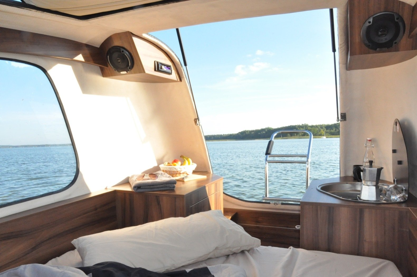 Bedroom and Bed Each Sealander can be customized to the user's preference, from add-on speakers to an on-board shower and toilet.  Photo 3 of 8 in This Amphibious Tiny Camper Tackles Land and Sea For Just $20K