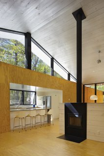 Clerestory windows bring in additional light and views of the forest canopy.